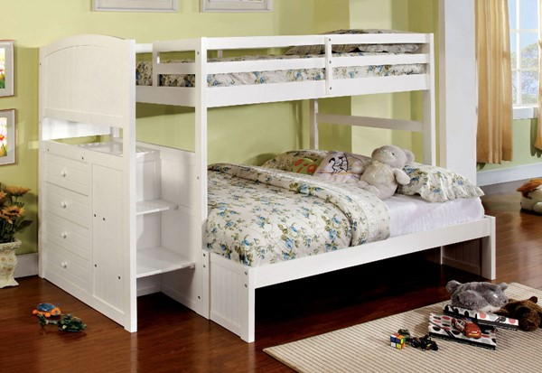 Furniture of America Appenzell White Twin over Full Bunk Bed FOA-CM-BK922F-BED