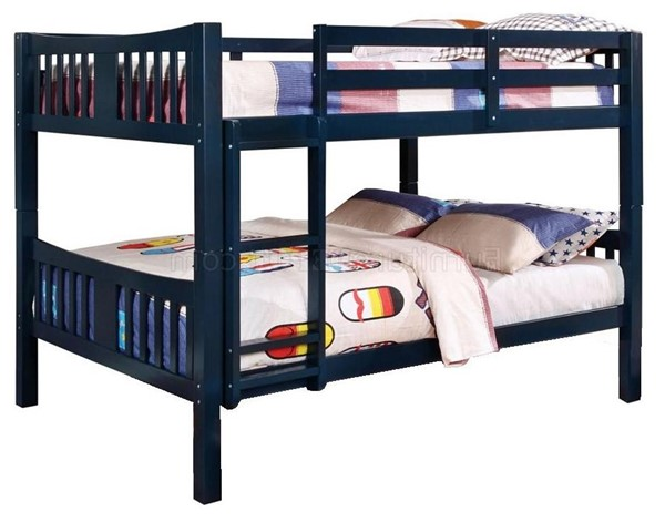 Furniture of America Cameron Blue Twin over Twin Bunk Bed FOA-CM-BK929BL-BED