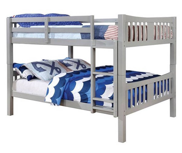 Furniture of America Cameron Gray Full Over Full Bunk Bed FOA-CM-BK929F-GY-BED
