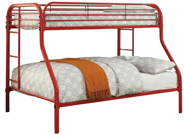 Furniture of America Opal Red Twin over Full Bunk Bed FOA-CM-BK931RD-TF