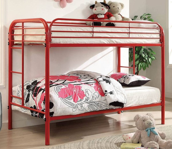 Furniture of America Opal Red Twin over Twin Bunk Bed FOA-CM-BK931RD-TT