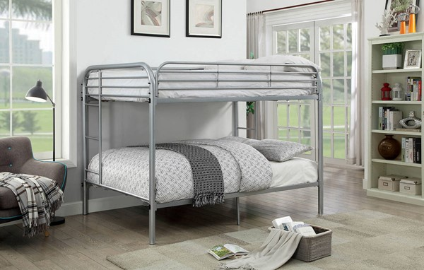 Furniture of America Opal Silver Full over Full Bunk Bed FOA-CM-BK931SV-FF