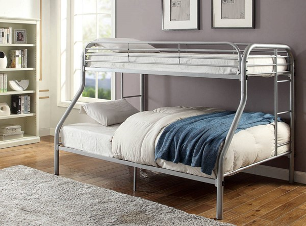 Furniture of America Opal Silver Twin over Full Bunk Bed FOA-CM-BK931SV-TF