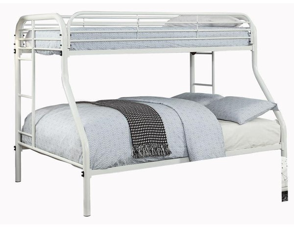 Furniture of America Opal White Twin over Full Bunk Bed FOA-CM-BK931WH-TF