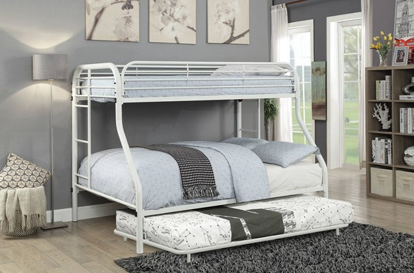 Furniture of America Opal White Twin over Full Trundle Bunk Bed FOA-CM-BK931WH-TR-TF