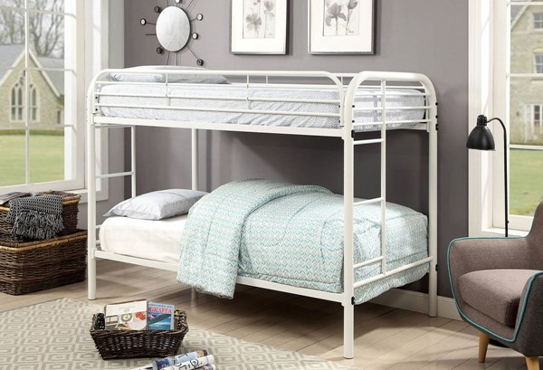 Furniture of America Opal White Twin over Twin Bunk Bed FOA-CM-BK931WH-TT