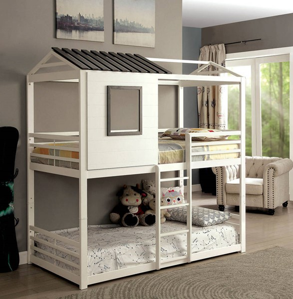 Furniture of America Stockholm White Twin over Twin Bunk Bed FOA-CM-BK935-BED