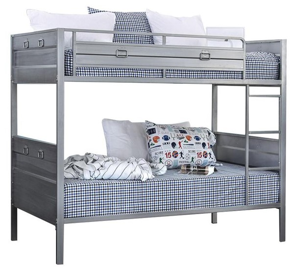 Furniture of America Mccredmond Silver Twin over Twin Bunk Bed FOA-CM-BK959-BED