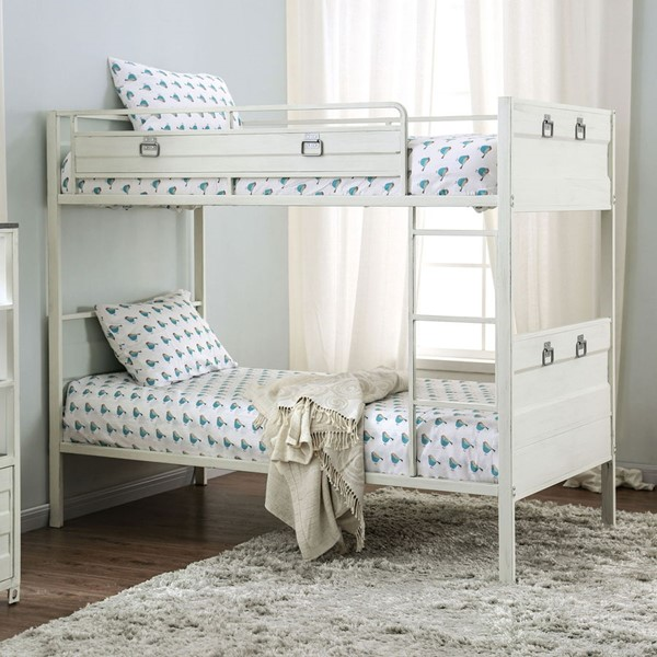 Furniture Of America Mccredmond White Twin Over Twin Bunk Bed FOA-CM-BK959WH-BED