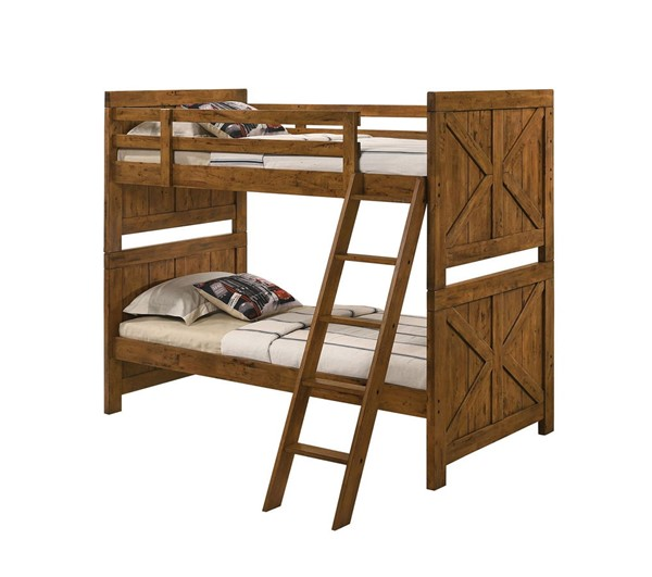Furniture Of America Amidon Light Oak Twin Over Twin Bunk Bed FOA-CM-BK961-BED