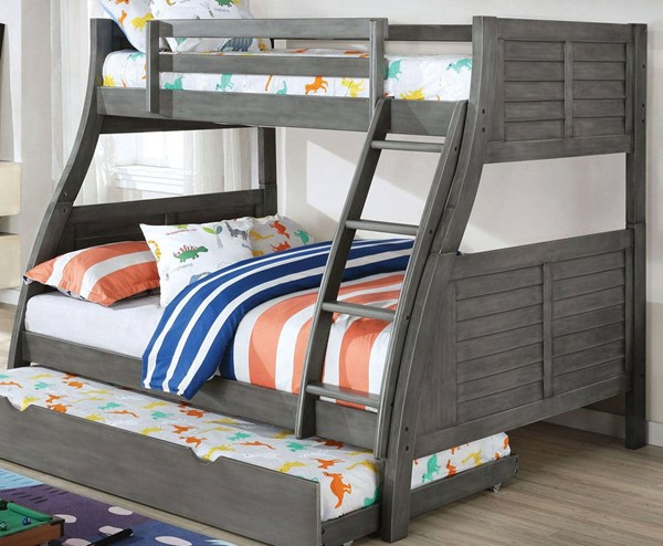 Furniture Of America Hoople Gray Twin Over Full Bunk Bed FOA-CM-BK963GY-BED