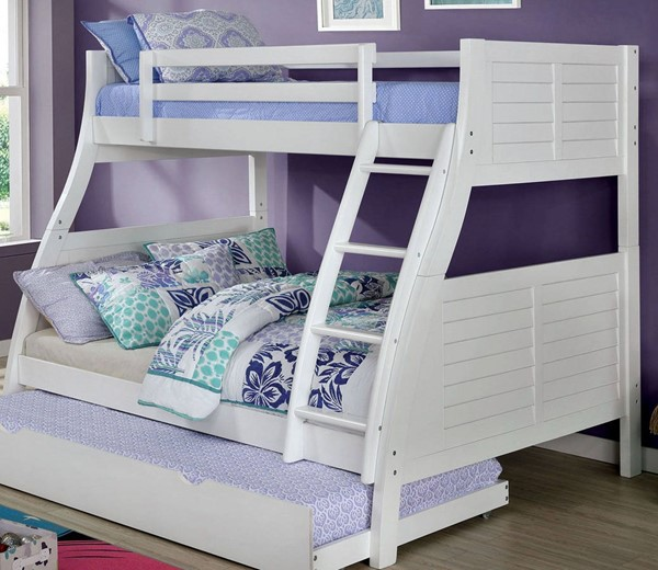 Furniture Of America Hoople White Twin Over Full Bunk Bed FOA-CM-BK963WH-BED