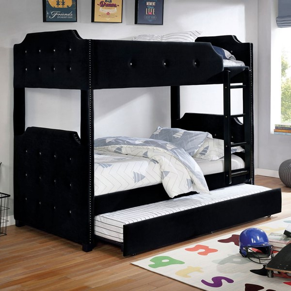 Furniture Of America Jomei Black Twin Over Twin Bunk Bed with Trundle FOA-CM-BK964BK-TT-BED-TR