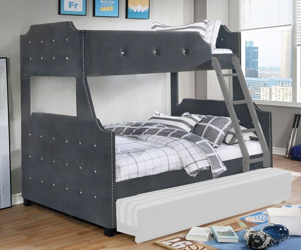 Furniture Of America Jomei Gray Twin Over Full Bunk Bed FOA-CM-BK964GY-TF-BED