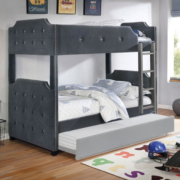 Furniture Of America Jomei Gray Twin Over Twin Bunk Bed FOA-CM-BK964GY-TT-BED
