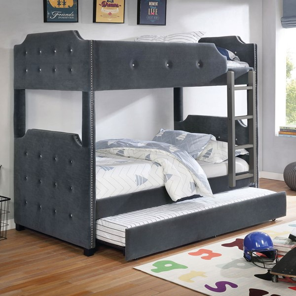 Furniture Of America Jomei Gray Twin Over Twin Bunk Bed with Trundle FOA-CM-BK964GY-TT-BED-TR