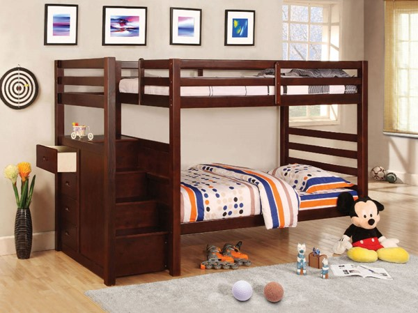 Furniture of America Pine Ridge Steps and Drawers Bunk Beds FOA-CM-BK966-BB-VAR
