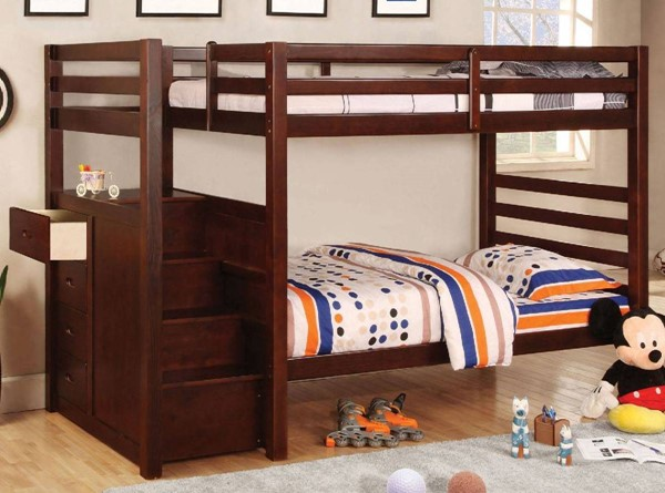 Furniture of America Pine Ridge Steps and Drawers Twin over Twin Bunk Bed FOA-CM-BK966-BED