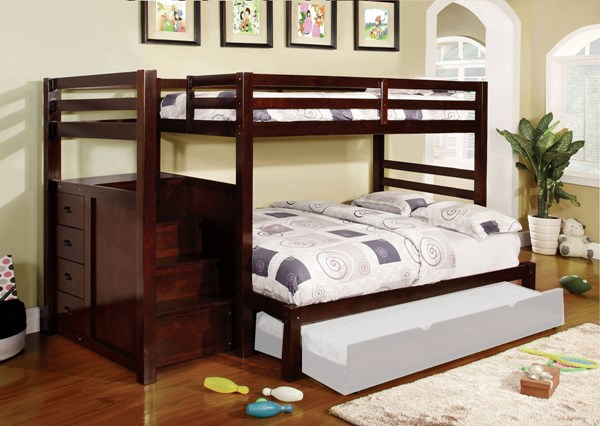 Furniture of America Pine Ridge Steps and Drawers Twin over Full Bunk Bed FOA-CM-BK966F-BED