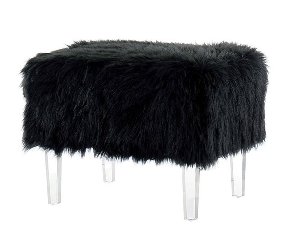 Furniture of America Zali Black Ottoman FOA-CM-BN5668BK-3A