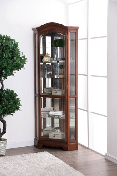 Furniture of America Julissa Oak Corner Cabinet FOA-CM-CR136