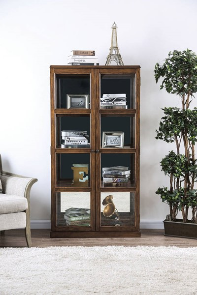 Furniture of America Vilas Oak Curio Cabinet FOA-CM-CR140A