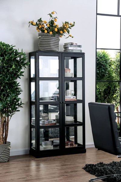 Furniture of America Vilas Black Curio Cabinet FOA-CM-CR140BK