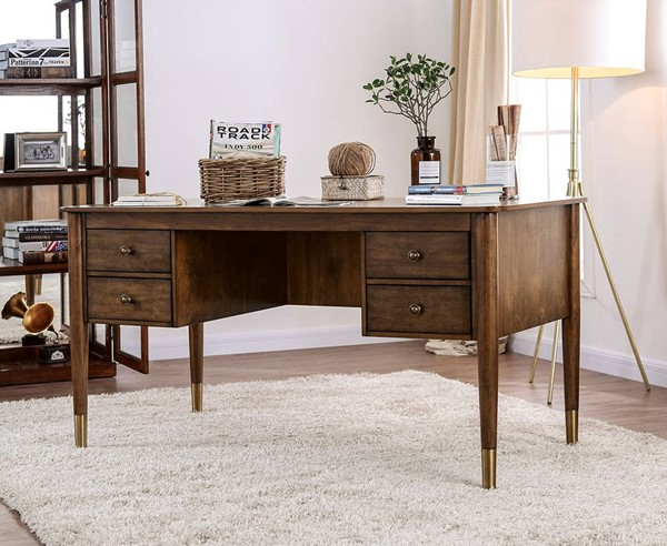 Furniture of America Reliance Antique Oak Desk FOA-CM-DK5056
