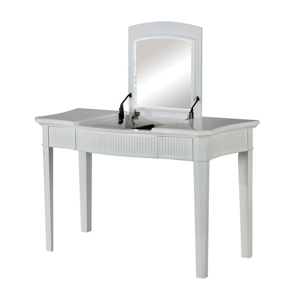 Furniture of America Stina White Ivory Vanity with Stool FOA-CM-DK5239