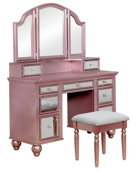 Furniture of America Tracy Rose Gold Vanity with Stool FOA-CM-DK6162RG