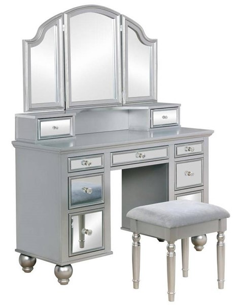 Furniture of America Tracy Silver Vanity with Stool FOA-CM-DK6162SV