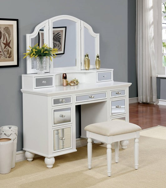 Furniture Of America Tracy White Vanity With Stool The