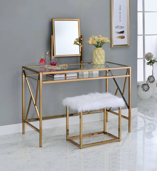 Furniture of America Lismore Champagne Vanity with Stool FOA-CM-DK6707CPN