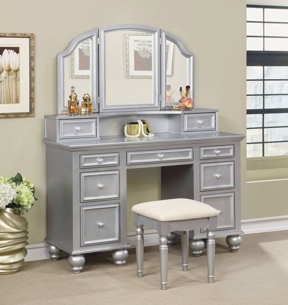 Furniture of America Athy Silver Vanity with Stool FOA-CM-DK6848SV
