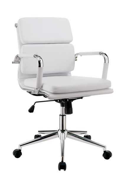 Furniture of America Mercedes White Cushion Back Office Chair FOA-CM-FC636S-WH