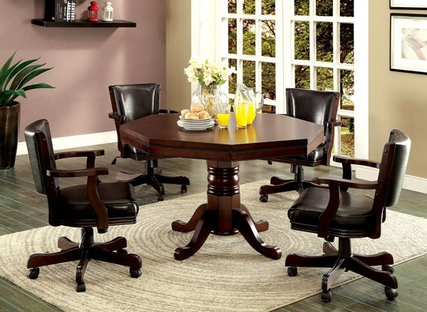 Rowan Traditional Cherry Leatherette Wood Dining Room Set FOA-CM-GM339-DR