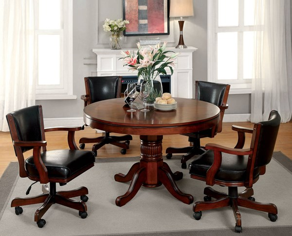 Portia Traditional Chestnut Wood Leatherette Dining Room Set FOA-CM-GM340-DR