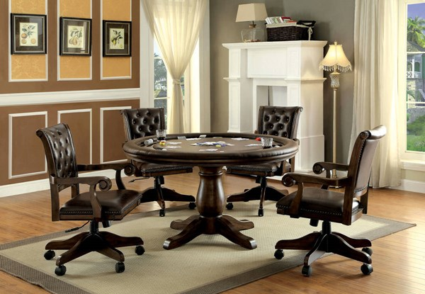 Kalia Contemporary Brown Solid Wood Leatherette Dining Room Set FOA-CM-GM347-DR