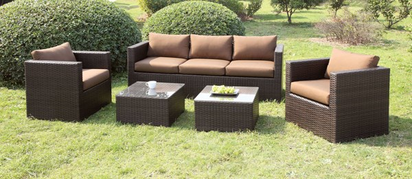 Furniture of America Olina Brown Espresso 5pc Patio Set FOA-CM-OS1820BR