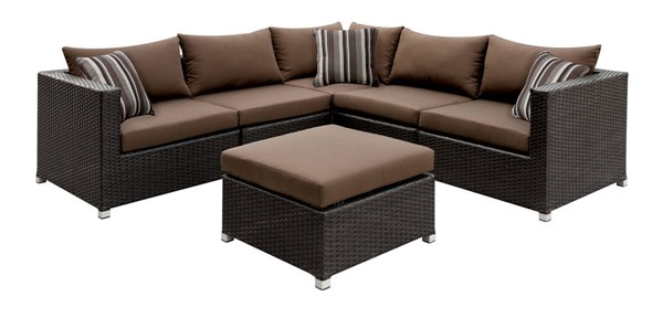 Furniture of America Abion Brown Patio Sectional FOA-CM-OS1821BR-SET