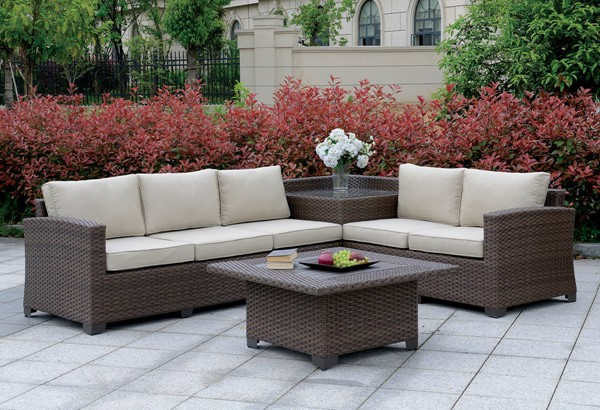 Furniture of America Bushnell 5pc Outdoor Sectional Sets with Coffee Tables FOA-CM-OS1840-SEC-CT-SQ-VAR