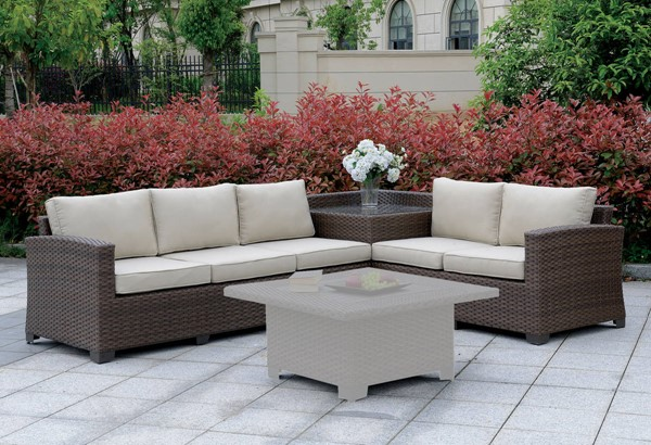 Furniture of America Bushnell Outdoor Sectionals with Corner Tables FOA-CM-OS1840-SET2-CT-VAR