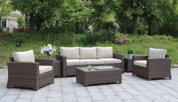Furniture of America Brindsmade Brown 6pc Patio Set FOA-CM-OS1842BR-SET