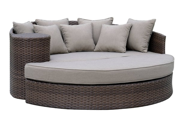 Furniture of America Calio Brown Round Patio Sofa and Ottoman FOA-CM-OS1844BR