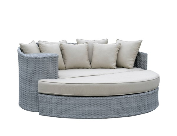 Furniture of America Calio Gray Round Patio Sofa and Ottoman FOA-CM-OS1844GY