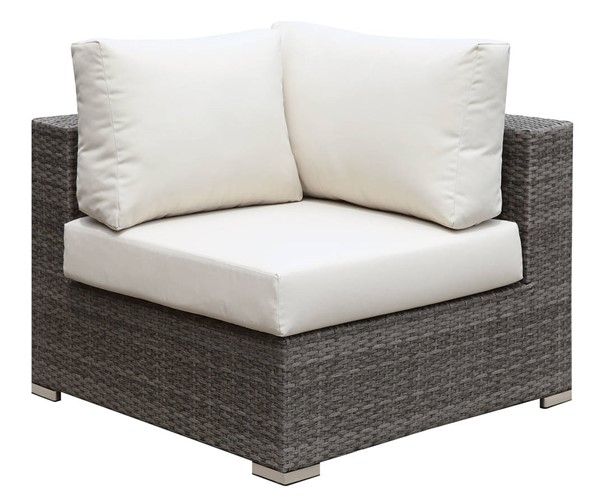 Furniture of America Somani Gray Ivory Corner Chair FOA-CM-OS2128-A