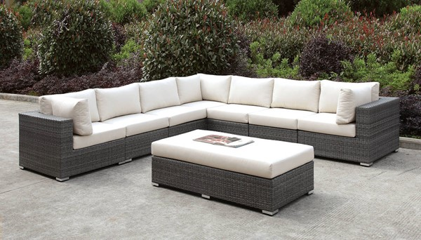 Furniture of America Somani 8pc Outdoor Large L Sectionals with Bench FOA-CM-OS2128-SEC-VAR1