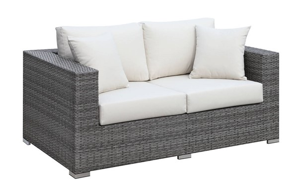 Furniture of America Somani Gray Ivory Loveseat with 2 Pillows FOA-CM-OS2128-J