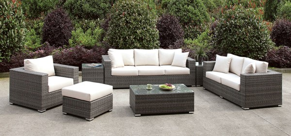 Furniture of America Somani 3pc Outdoor Seating Sets with Coffee Table FOA-CM-OS2128-SET-VAR