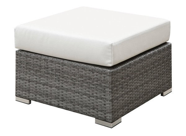 Furniture of America Somani Gray Ivory Small Ottoman FOA-CM-OS2128-N